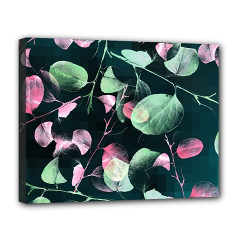 Modern Green And Pink Leaves Canvas 14  X 11