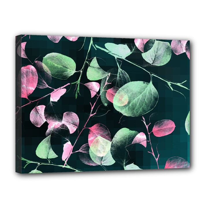 Modern Green And Pink Leaves Canvas 16  x 12
