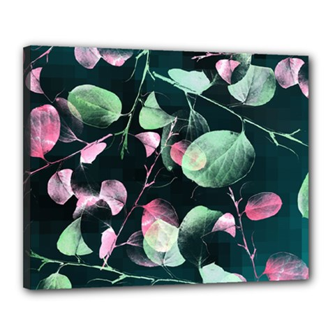 Modern Green And Pink Leaves Canvas 20  x 16