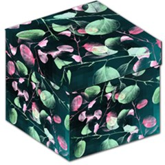 Modern Green And Pink Leaves Storage Stool 12