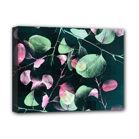Modern Green And Pink Leaves Deluxe Canvas 16  x 12