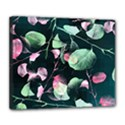 Modern Green And Pink Leaves Deluxe Canvas 24  x 20   View1