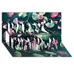 Modern Green And Pink Leaves Happy Birthday 3d Greeting Card (8x4)