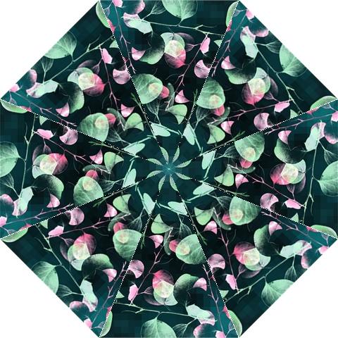 Modern Green And Pink Leaves Hook Handle Umbrellas (Medium)