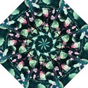 Modern Green And Pink Leaves Hook Handle Umbrellas (Large) View1