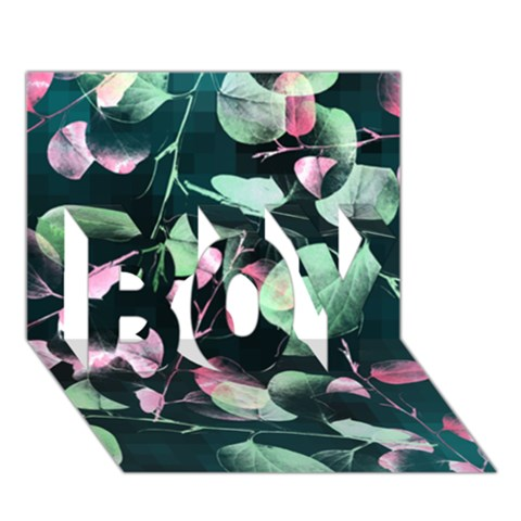 Modern Green And Pink Leaves BOY 3D Greeting Card (7x5)