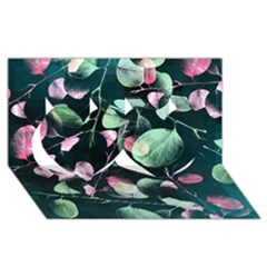 Modern Green And Pink Leaves Twin Hearts 3D Greeting Card (8x4)