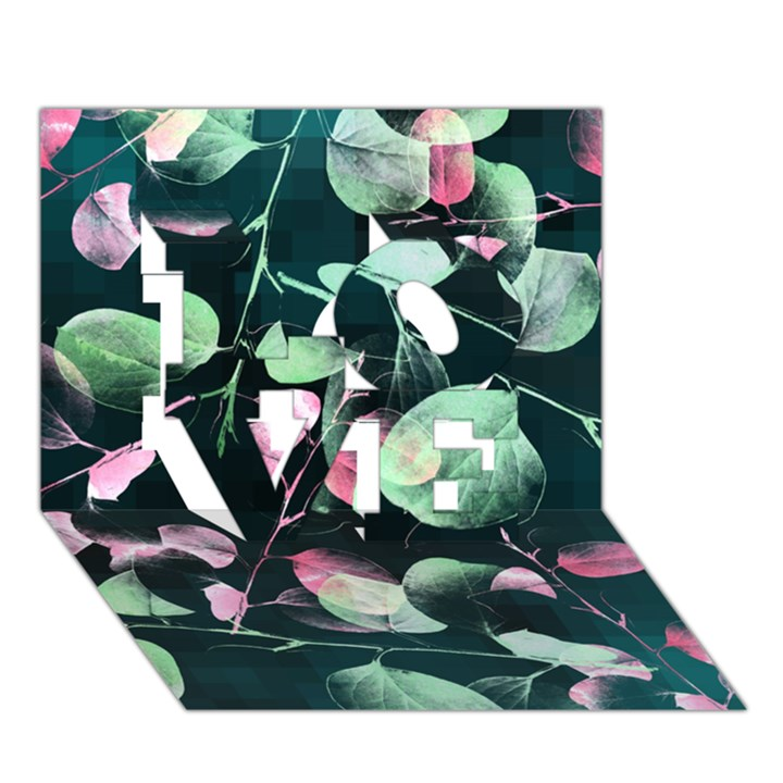 Modern Green And Pink Leaves LOVE 3D Greeting Card (7x5)