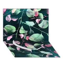 Modern Green And Pink Leaves Heart Bottom 3D Greeting Card (7x5)