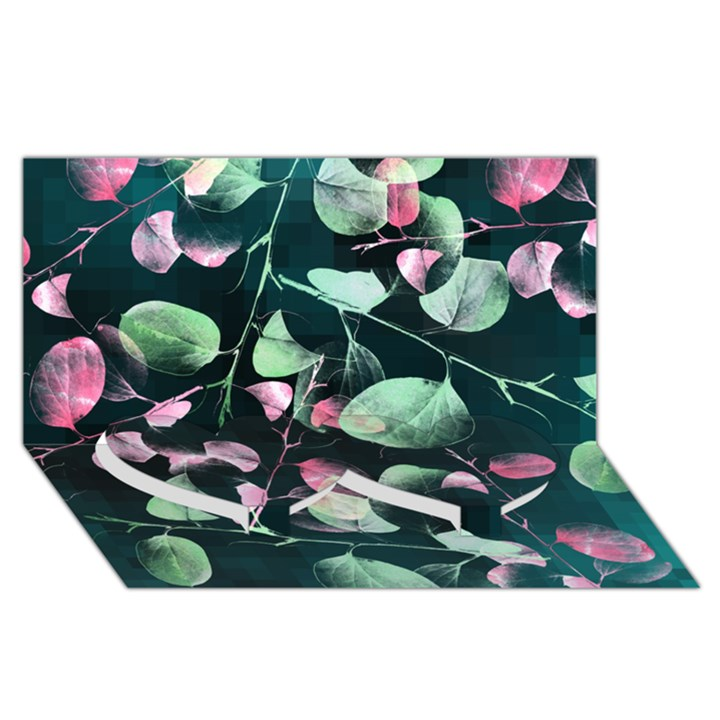 Modern Green And Pink Leaves Twin Heart Bottom 3D Greeting Card (8x4)