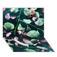 Modern Green And Pink Leaves Circle Bottom 3d Greeting Card (7x5)