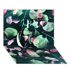 Modern Green And Pink Leaves Apple 3D Greeting Card (7x5)