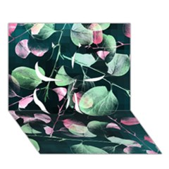 Modern Green And Pink Leaves Clover 3D Greeting Card (7x5)