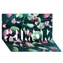 Modern Green And Pink Leaves #1 Mom 3d Greeting Cards (8x4)