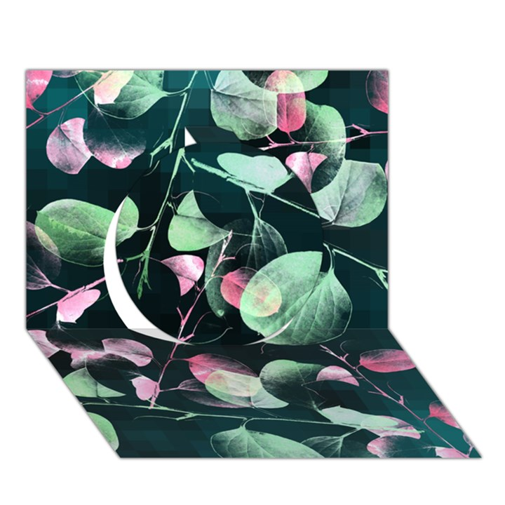 Modern Green And Pink Leaves Circle 3D Greeting Card (7x5)