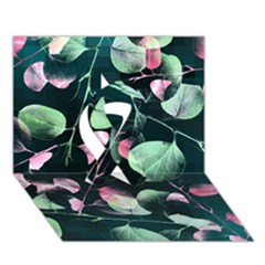 Modern Green And Pink Leaves Ribbon 3D Greeting Card (7x5)