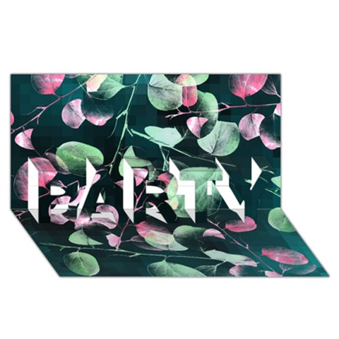 Modern Green And Pink Leaves PARTY 3D Greeting Card (8x4)