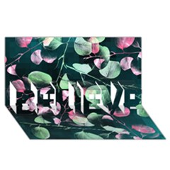 Modern Green And Pink Leaves BELIEVE 3D Greeting Card (8x4)