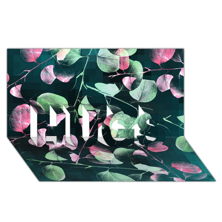 Modern Green And Pink Leaves HUGS 3D Greeting Card (8x4)