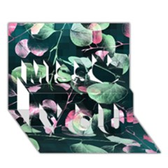 Modern Green And Pink Leaves Miss You 3D Greeting Card (7x5)