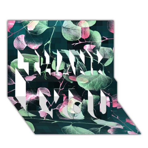 Modern Green And Pink Leaves THANK YOU 3D Greeting Card (7x5)