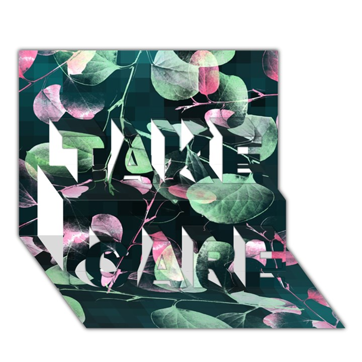 Modern Green And Pink Leaves TAKE CARE 3D Greeting Card (7x5)