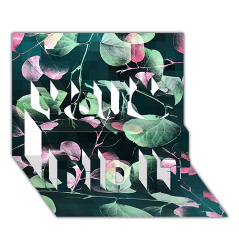 Modern Green And Pink Leaves You Did It 3D Greeting Card (7x5)