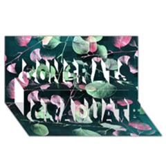 Modern Green And Pink Leaves Congrats Graduate 3D Greeting Card (8x4)