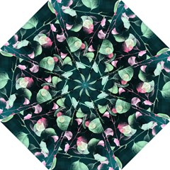 Modern Green And Pink Leaves Hook Handle Umbrellas (small)