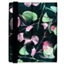 Modern Green And Pink Leaves Samsung Galaxy Tab 8.9  P7300 Flip Case View3
