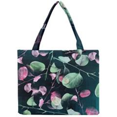 Modern Green And Pink Leaves Mini Tote Bag