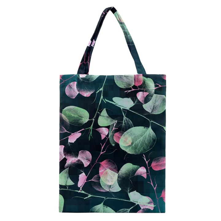 Modern Green And Pink Leaves Classic Tote Bag