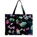 Modern Green And Pink Leaves Zipper Mini Tote Bag View1