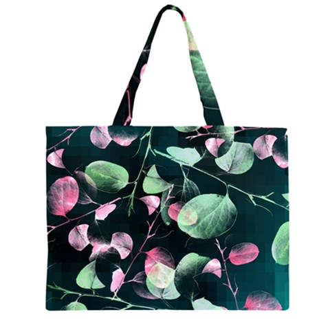 Modern Green And Pink Leaves Large Tote Bag