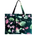Modern Green And Pink Leaves Large Tote Bag View1
