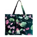 Modern Green And Pink Leaves Large Tote Bag View2