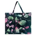 Modern Green And Pink Leaves Zipper Large Tote Bag View1