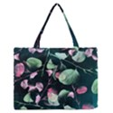 Modern Green And Pink Leaves Medium Zipper Tote Bag View1