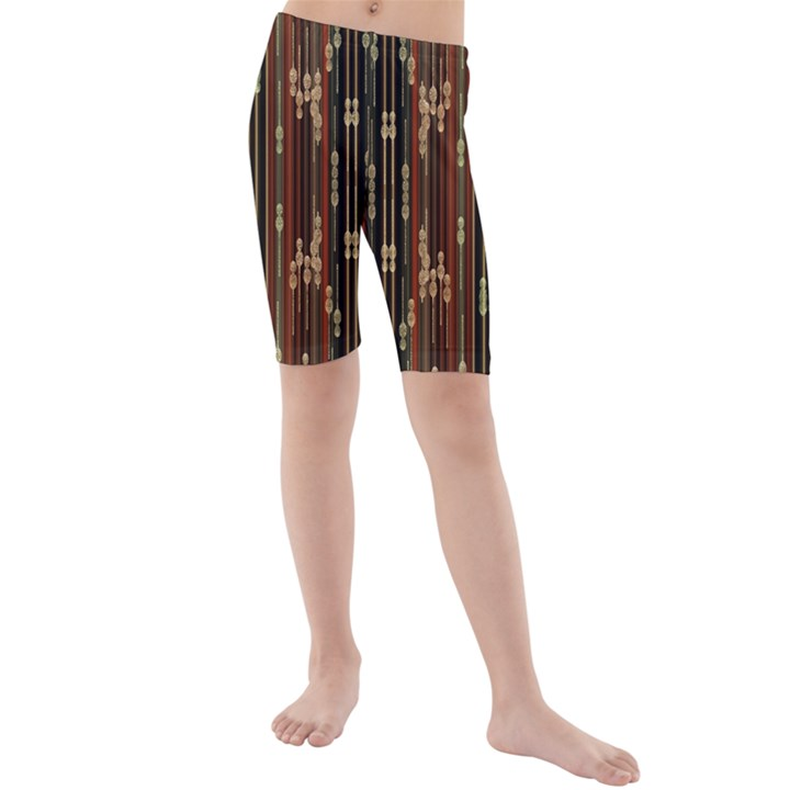 Floral Strings Pattern  Kids  Mid Length Swim Shorts