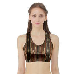 Floral Strings Pattern  Sports Bra with Border