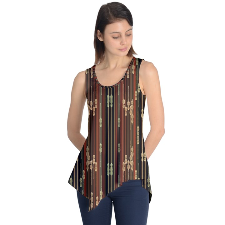 Floral Strings Pattern  Sleeveless Tunic