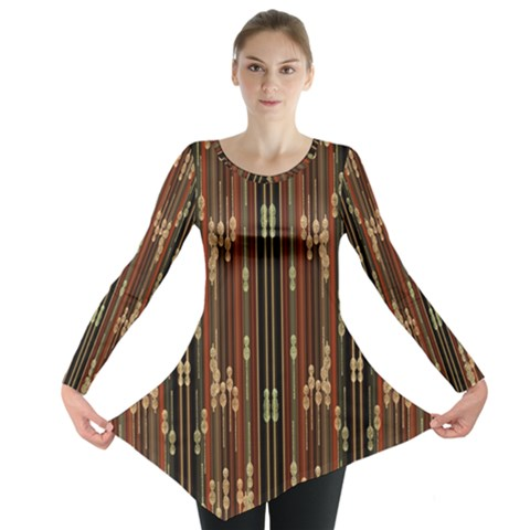 Floral Strings Pattern  Long Sleeve Tunic