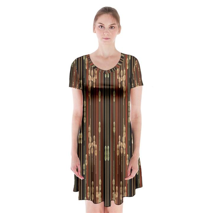 Floral Strings Pattern  Short Sleeve V-neck Flare Dress