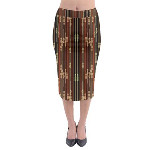 Floral Strings Pattern  Midi Pencil Skirt