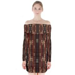 Floral Strings Pattern  Long Sleeve Off Shoulder Dress