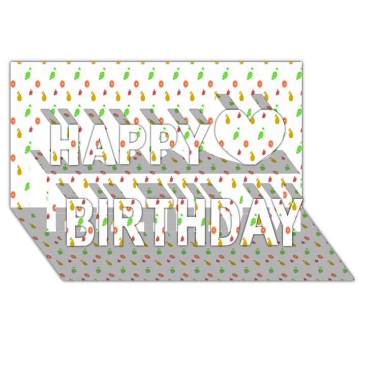 Fruit Pattern Vector Background Happy Birthday 3D Greeting Card (8x4)