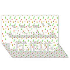 Fruit Pattern Vector Background Best Friends 3D Greeting Card (8x4)