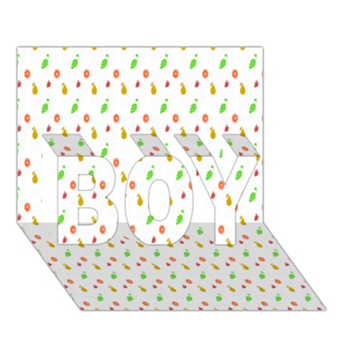 Fruit Pattern Vector Background BOY 3D Greeting Card (7x5)