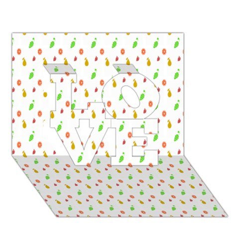 Fruit Pattern Vector Background LOVE 3D Greeting Card (7x5)