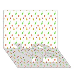 Fruit Pattern Vector Background LOVE Bottom 3D Greeting Card (7x5)